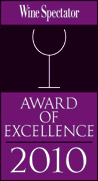 Wine Spectator Award of Excellence 2010